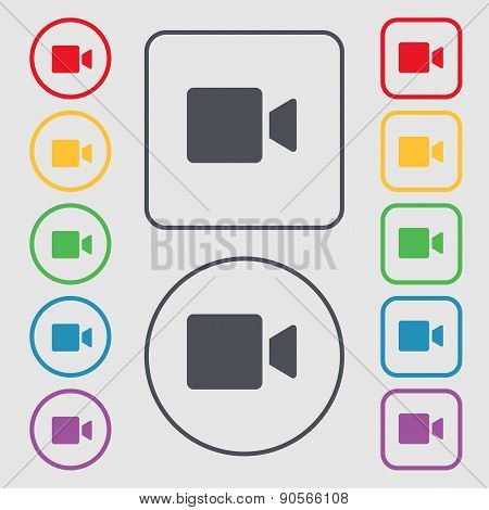 Video Camera Icon Sign. Symbol On The Round And Square Buttons With Frame. Vector