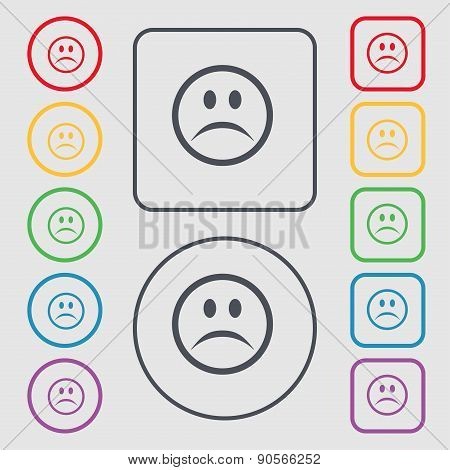 Sad Face, Sadness Depression Icon Sign. Symbol On The Round And Square Buttons With Frame. Vector