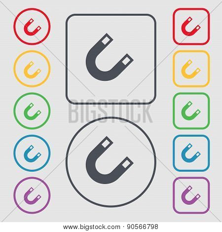 Magnet, Horseshoe Icon Sign. Symbol On The Round And Square Buttons With Frame. Vector