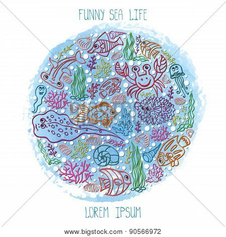 Summer background.Colored Sea Life,watercolor blue stein