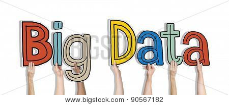 Group of Diverse People's Hands Holding Big Data
