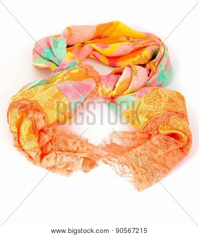 Colorful indian scarf tied up isolated