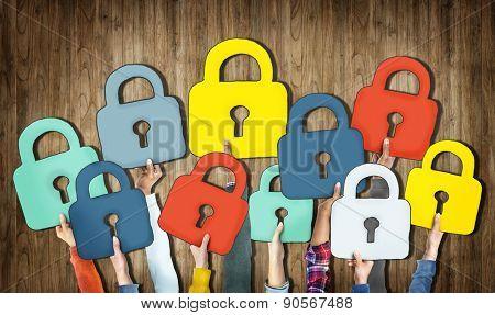 Group of Hands Holding Padlock Symbols