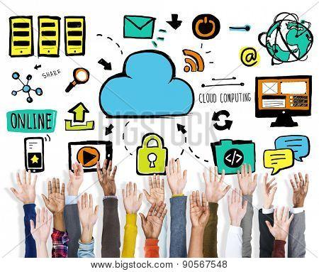Diversity Hands Cloud Computing Data Support Volunteer Concept