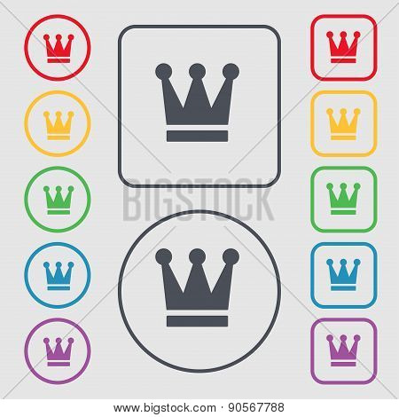 King, Crown Icon Sign. Symbol On The Round And Square Buttons With Frame. Vector