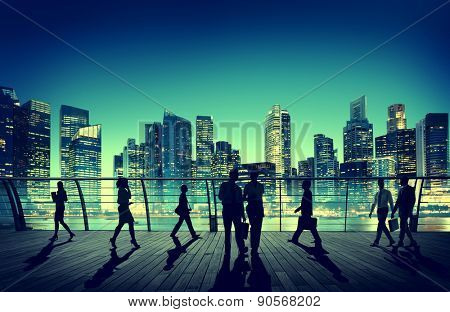 Commuter Business City Cityscape Corporate Colleagues Concept