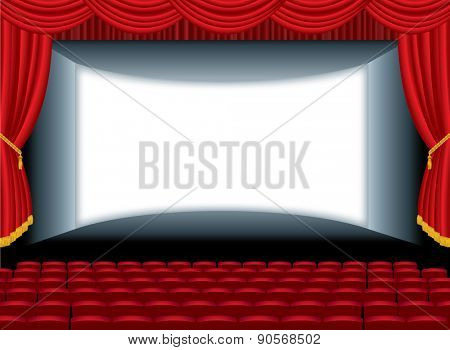 vector illustration of the empty cinema with auditorium