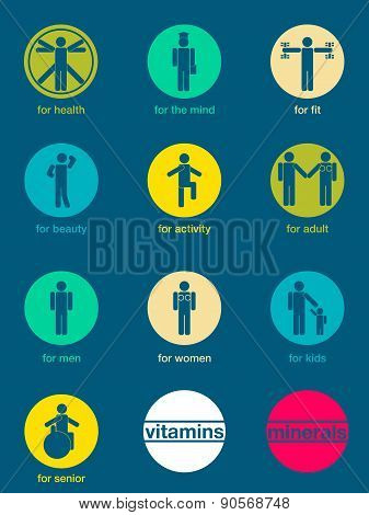 Set Of Icons,  Vitamins And Minerals