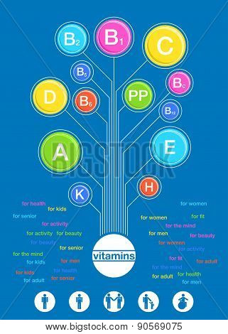 Poster Of The Vitamins In Flat Retro Style