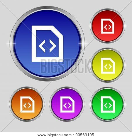 Programming Code Icon Sign. Round Symbol On Bright Colourful Buttons. Vector