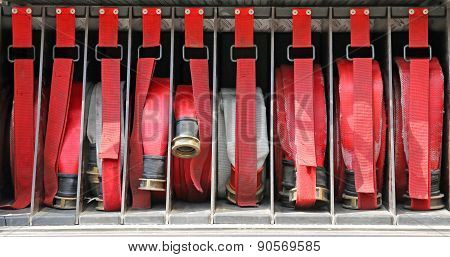 Red Pipes In Fire Trucks To Fire Off