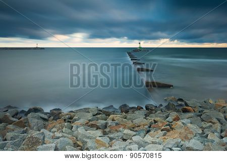 Long Exposure Seascape With Moutch Of Vistula River