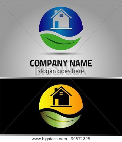 Eco home sign Branding Identity Corporate vector logo design template