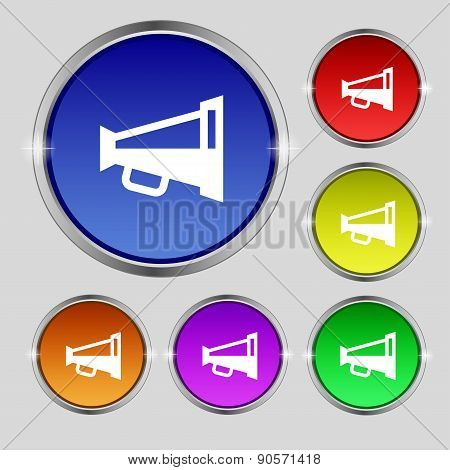 Megaphone Soon, Loudspeaker Icon Sign. Round Symbol On Bright Colourful Buttons. Vector