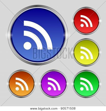 Rss Feed Icon Sign. Round Symbol On Bright Colourful Buttons. Vector