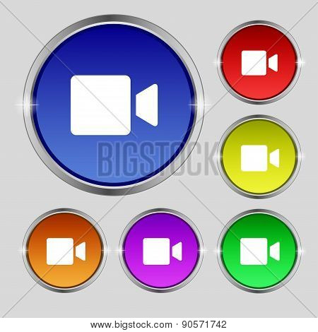 Video Camera Icon Sign. Round Symbol On Bright Colourful Buttons. Vector