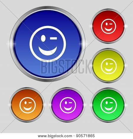 Winking Face Icon Sign. Round Symbol On Bright Colourful Buttons. Vector