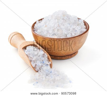 Persian blue salt in a wooden bowl