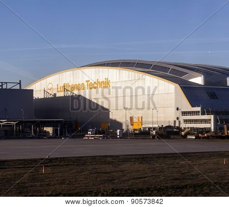Aircrafts At Lufthansa Technik Wharft At Rhein Main Airport In Sunrise
