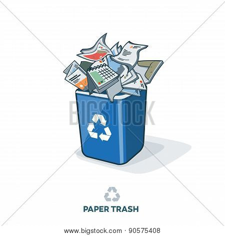 Paper Trash In Recycling Bin