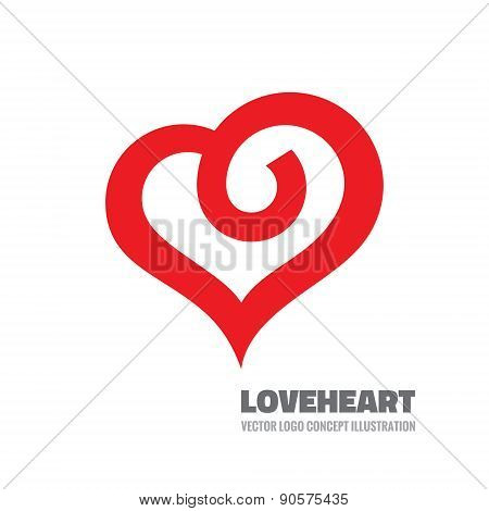Red heart - vector logo concept illustration