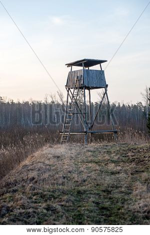 Beautiful Spring Landscape With Watchtower In Forest