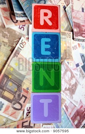 Rent And Money In Toy Blocks