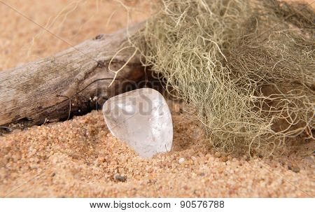 Rock Crystal On Beach