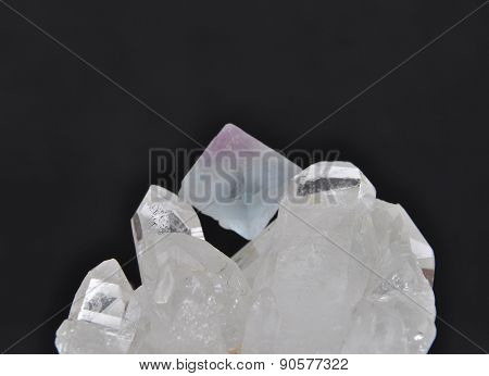 Fluorite On Rock Crystal