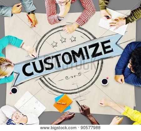 Customize Personalize Individualize Products Service Concept