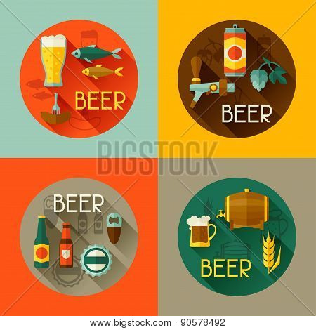 Backgrounds with beer icons and objects in flat style