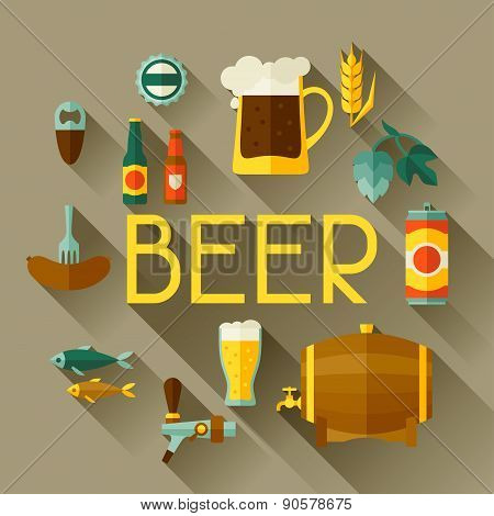 Background with beer icons and objects in flat style
