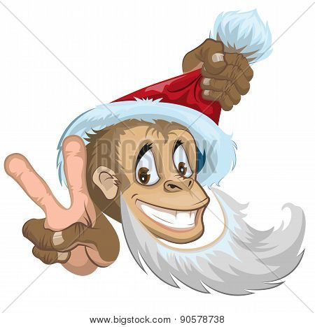 Monkey in Santa hat showing two fingers - gesture victory. Symbol 2016.