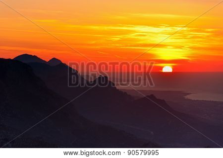 sunset at the mountains Mediterranean sea