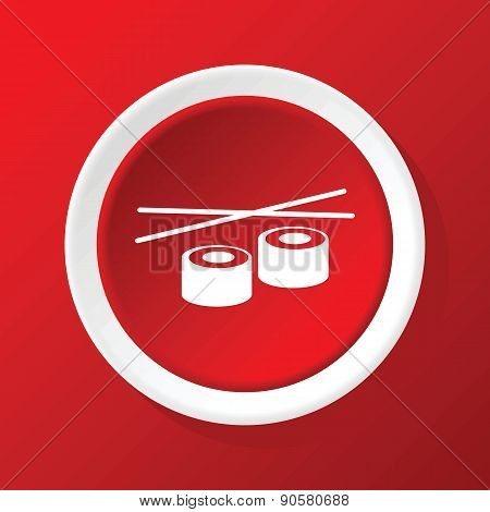 Sushi rolls icon on red
