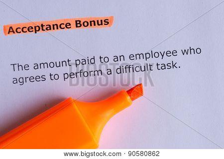 Acceptance Bonus