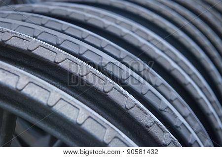 Closse up steel hand wheels for vavles