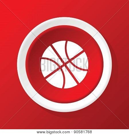 Basketball icon on red