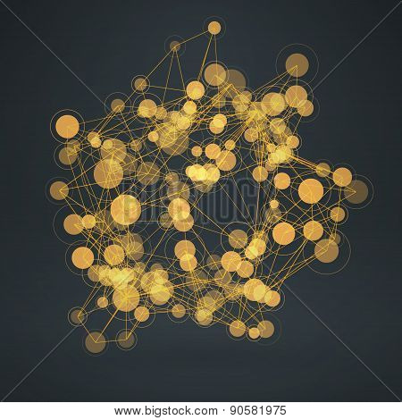 Abstract Background With Connected Lines And Circles. Vector Illustration