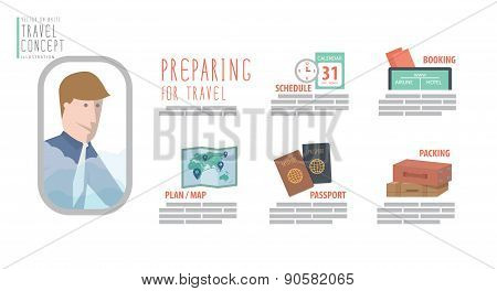 Preparing For Travel Flat Vector.
