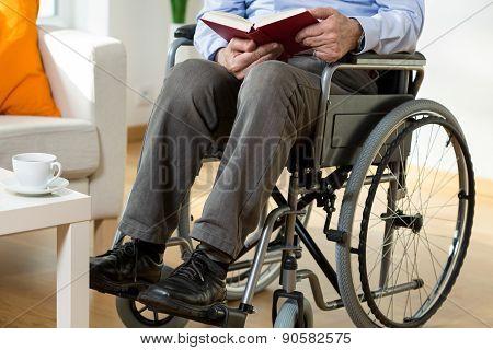 Man On Wheelchair Reading A Book