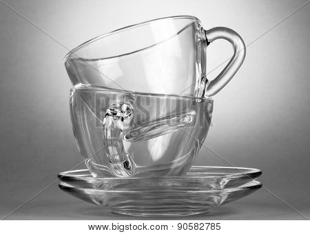 Empty tea saucer cups