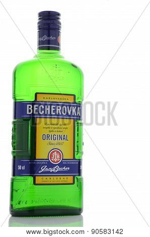 Bottle of Becherovka isolated on white background