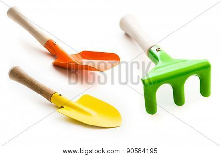 Set of three gardening tools on a white background