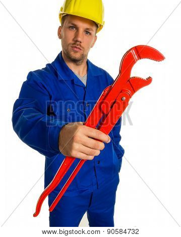 a worker in a business enterprise (craftsmen) with tools in hand