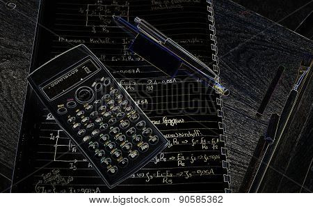 Calculator on advanced physics and math notes