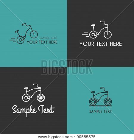 Set Of Line Art Badge Or Logo Templates With Children Tricycle. Thin Line Graphic Design