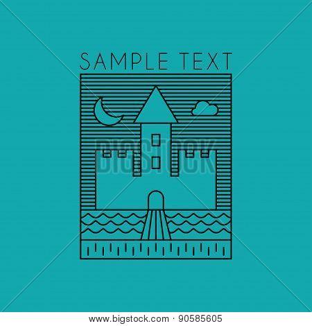 Line Art Badge Or Logo Template. Line Art Illustration Of Castle. Thin Line Graphic Design