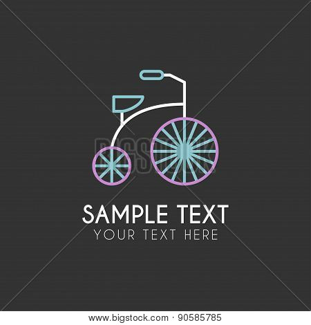 Line Art Logo Template With Children Tricycle. Thin Line Graphic Design