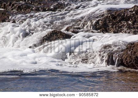 White Foaming Water Streaming Over Seaweed Covered Rocks
